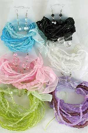 Bracelet & Earrings Sets Crystal & Beads, Stretch/D New Arrival** Color Asst