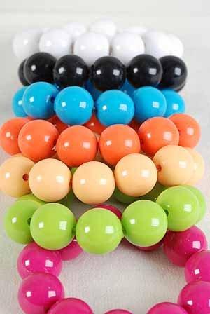 Bracelet 22mm Solid Ball Stretch/dz New 7 Color Asst,Stretch