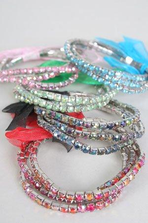 Bracelet 3pcs Tennis W Ribbons/DZ Asst colors **Stretch**