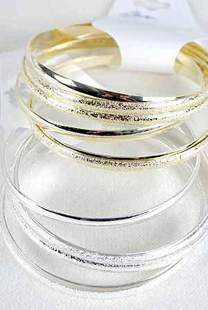 Bracelet 6pcs Bangle Metal 3'' Wide /DZ Choose Gold Or Silver Finish