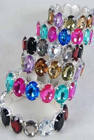 Bracelet acrylic Stone Stretch/dz ** New Arrival**Color Asst