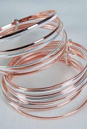 Bracelet Bangle 8pcs Copper With Silver Mix/DZ **New Arrival** Copper & Silver Mix