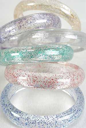 Bracelet Bangle Acrylic With Glitters 3'' Wide/DZ 6 Color Asst