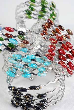 Bracelet Bangle Color Asst Wave Look /dz ** New arrival**6 Color asst