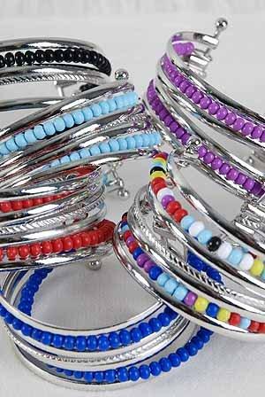 Bracelet Bangle Color Beads color Asst/DZ ** New Arrival** 6 Color Asst