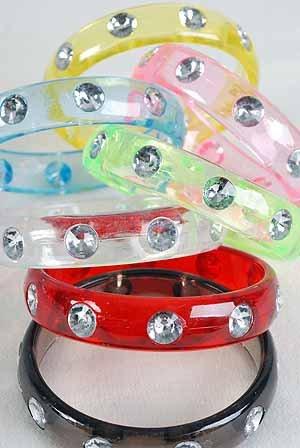 """Bracelet Bangle Transparent W Clear Stones 3"""" Wide/DZ 7 Color Asst"""