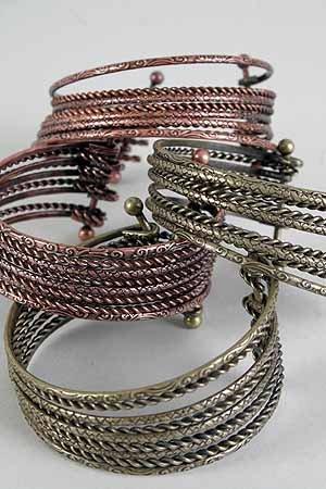 Bracelet Bangle Wide Antique Copper& BrassFinish Mix/DZ **New** Dior Look,Copper & Brass Mix