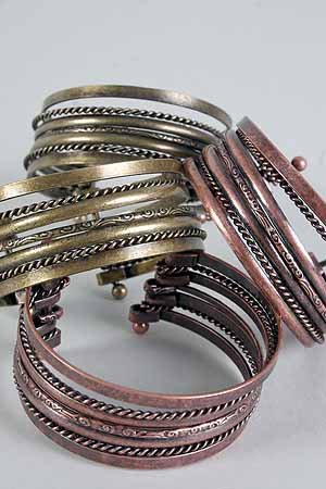 Bracelet Bangle Wire Antique Copper & Brass Mix/DZ **New Copper Gold Mix,Dior Look Like