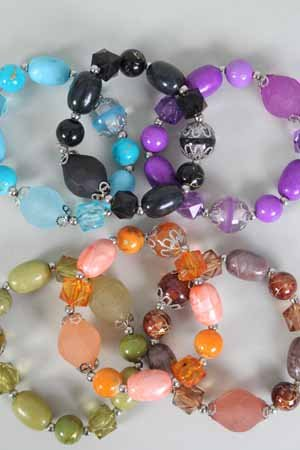 Bracelet Bead With Lucites ,6 Color Asst/DZ **NEW Arrival** Stretch