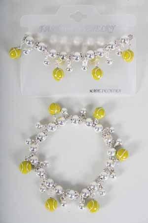 Bracelet CC Beads W Tennis Epoxy Stretch/DZ ** New Arrival** Stretch