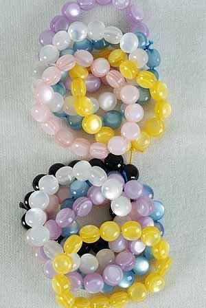 Bracelet Lucite Round Pearl Finish/DZ **Stretch** Color Asst