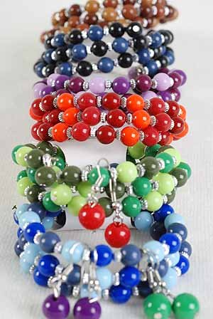 Bracelets & Earring Sets Flexable W Solid Beads/DZ **NEW** 6 Color Asst,Flexable