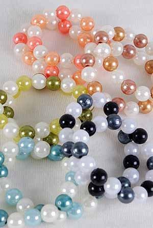 Bracelets 2String 14mm Pearls Color Asst,Stretch/DZ ** New** 6 Color Asst