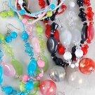 3pcs Necklace Sets Lucite Marble W Beads/DZ 6 Color Asst