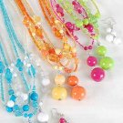 Necklace Sets Large Acrylic Ball With Beads/DZ 7 Color Asst