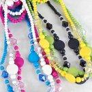 3pcs Necklace Sets Circle W Acrylic Beads/DZ **NEW**3pcs Sets,Color Asst
