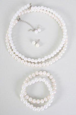 Choker Set Pearl 8mm W Bracelet,16''/DZ **New Arrival** Bracelet Is Stretch With ABS Pearl