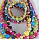 3pcs Necklace Sets Lucite W Gold Beads/DZ 6 Color Asst