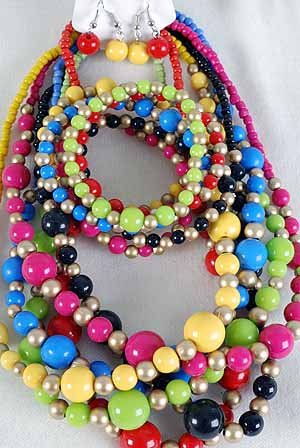3pcs Necklace Sets Lucite W Gold Beads/DZ 6 Color Asst