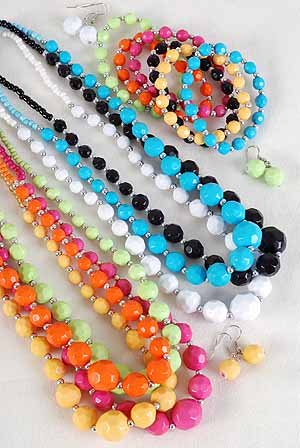 3pcs Necklace Sets Solid Dialmond Cut Beads W Silver Beads 7 Color Asst