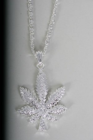 Hip Hop Necklace Marijuana/Dz Silver