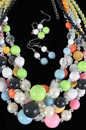 Necklace Set Lucite Large Ball W CC Beads/DZ ** New arrival** Color Asst