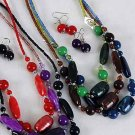 Necklace Set Silky Marble Look W Beads 24''/dz **NEW** Dior loke like,6 Color Asst