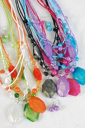 Necklace Sets Large Octagon Pendant With Silky Marbles DZ 7Color Asst