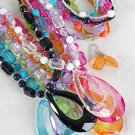 Necklace Sets Large Teardrop Pendant With Transparent Colors/DZ 7 Color Asst