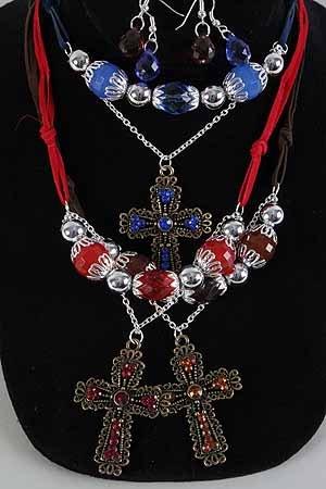 Necklace Sets Cc Beads W Large Cross/DZ **New Arrival** Antique Finish 6 Color Asst