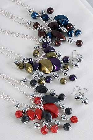 Necklace Sets Chain With Lucite Marble Drops/DZ ** New Arrival** 6 Color Asst