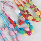 Necklace Sets Lucite 22mm Ball & Block& Beads/DZ ** New Arrival** Color asst