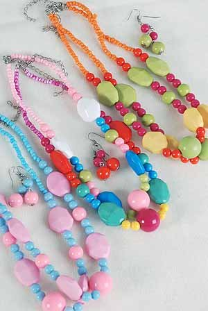 Necklace Sets Lucite 22mm Ball & Block& Beads/DZ ** New Arrival** Color asst
