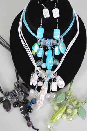 Necklace Sets Lucite Spray paint W Pearls/DZ ** New Arrival** Color Asst