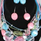 Necklace Sets Lucite W Crystal Blocks/DZ ** New Arrival** 6 Color asst
