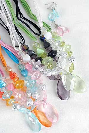 Necklace Sets Lucite W Large Teardrop/DzAlso can match W 26106 6 Color asst