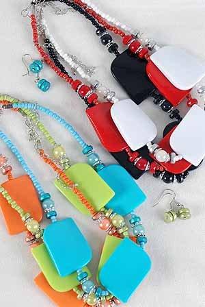 Necklace Sets Lucite With Blocks/DZ 7 Color Mix