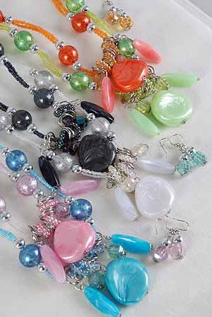 Necklace Sets Silky Marble Drop W silver Beads/DZ Pink Blue Lime Orange Black White 6 Color Asst