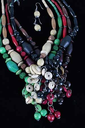 Necklace Sets Wood Color asst 24''/DZ **NEW** 6 Color Asst