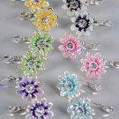 Earrings Daisy Flower Epoxy W Rhinestone/Dz 6 Color Asst