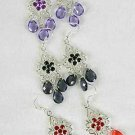 Earrings Cast W Color Stones Filigree Look/DZ ** New Arrival** 6 Color Asst