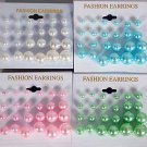 Earring 12pair Pearls Asst Size/DZ choose colors- Pastel, White, Cream
