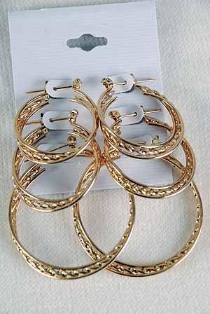 Earring 3pr hoops Twist/DZ choose Gold or Silver finish