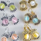 Earring Cateye Ovel Shape 6 Color Asst,post Choose Gold Or Silver Finish