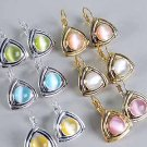 Earring CateyeTriangle Asst Post Gold/DZ*web* pink lime white yellow orange aqua mix - 50dz/cs