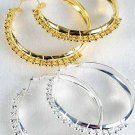 Earring Metal Hoop w CC Beads/DZ ** New Arrival** Choose Gold or Silver