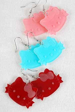 Earrings Acrylic Cat Color Asst/DZ Color Asst