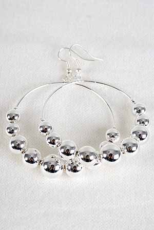 Earrings Silver Circle W CC Beads 2''/DZ