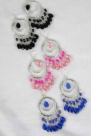 Earrings Silver Circle With Chandlairs/DZ **NEW** 6 Color Asst