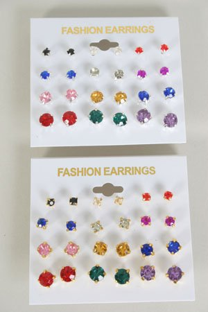 Earrings 12 Per Color Studs Multi/DZ Choose Colors Gold Multi; Silver Multi